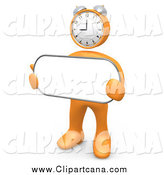 August 3rd, 2014: Clip Art of a Orange 3d Clock Head Man Holding a Sign by 3poD