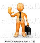 Clip Art of a Orange Businessman Carrying a Briefcase and Gesturing with His Hand to Stop, on White by 3poD