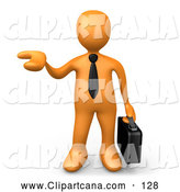 Clip Art of a Orange Businessman Carrying a Briefcase and Holding His Hand out As if Presenting a Product, on White by 3poD
