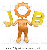 Clip Art of a Orange Cog Headed Person Holding Text That Spells out Job by 3poD