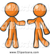 Clip Art of a Orange Couple About to Embrace by Leo Blanchette