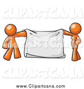 Clip Art of a Orange Couple Holding a Blank Banner by Leo Blanchette