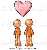 Clip Art of a Orange Couple Under a Floating Pink Heart by Leo Blanchette