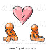 Clip Art of a Orange Couple Under a Pink Broken Heart by Leo Blanchette