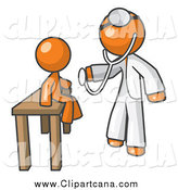 Clip Art of a Orange Doctor Examining a Child by Leo Blanchette