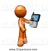 Clip Art of a Orange Guy Holding a Video Chat Cell Phone by Leo Blanchette