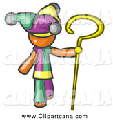 Clip Art of a Orange Jester Costume, Holding a Yellow Staff by Leo Blanchette