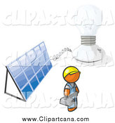 Clip Art of a Orange Man by a Light Bulb and a Solar Panel by Leo Blanchette