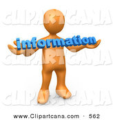 Clip Art of a Orange Man Carrying Blue Text Reading Information by 3poD