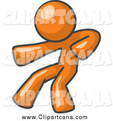 Clip Art of a Orange Man Fighter Punching by Leo Blanchette