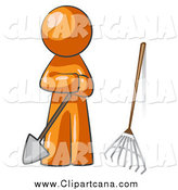 Clip Art of a Orange Man Gardener Standing by a Shovel and a Rake by Leo Blanchette