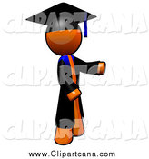 Clip Art of a Orange Man Graduate Presenting to the Right by Leo Blanchette