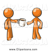 Clip Art of a Orange Man Handing a Woman a Cup of Coffee by Leo Blanchette