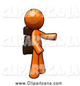 Clip Art of a Orange Man Hiker by Leo Blanchette