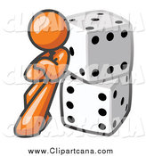 Clip Art of a Orange Man Leaning on Dice by Leo Blanchette