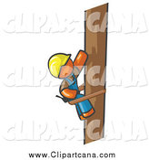 Clip Art of a Orange Man Lineman by Leo Blanchette