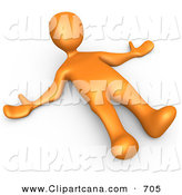 Clip Art of a Orange Man Lying on the Ground While Opposing Something by 3poD