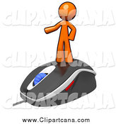 Clip Art of a Orange Man on a Computer Mouse by Leo Blanchette