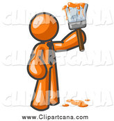 Clip Art of a Orange Man Painter by Leo Blanchette