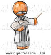 Clip Art of a Orange Man Professor Holding a Pointer and an Open Book by Leo Blanchette