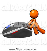 Clip Art of a Orange Man Pushing a Giant Computer Mouse by Leo Blanchette