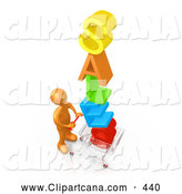 Clip Art of a Orange Man Pushing a Shopping Cart with the Colorful Word SALES in the Cart, Getting Great Deals During a Store Promotion by 3poD