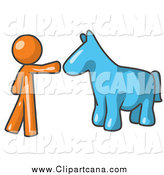 Clip Art of a Orange Man Reaching out to a Blue Horse by Leo Blanchette