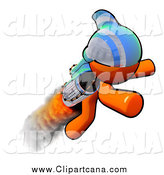 Clip Art of a Orange Man Rocketeer by Leo Blanchette