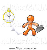 Clip Art of a Orange Man Running Late for Work over a Crack with a Clock by Leo Blanchette