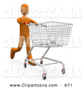Clip Art of a Orange Man Running Through a Store and Pushing a Shopping Cart by 3poD