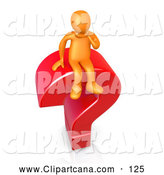 Clip Art of a Orange Man Sitting Atop a Giant Red Question Mark by 3poD