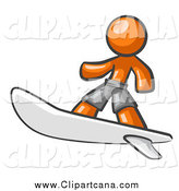 Clip Art of a Orange Man Surfer Dude by Leo Blanchette