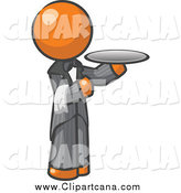 Clip Art of a Orange Man Waitor Holding a Plate by Leo Blanchette