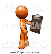 Clip Art of a Orange Man with a Clipboard by Leo Blanchette