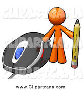 Clip Art of a Orange Man with a Pencil by a Computer Mouse by Leo Blanchette