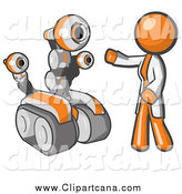 Clip Art of a Orange Man with a Rover Robot by Leo Blanchette
