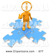 Clip Art of a Orange Man with an I Inside His Circle Head, Standing on Top of Blue Puzzle Pieces, Symbolizing Information and Technical Support by 3poD