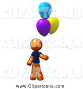 Clip Art of a Orange Man with Colorful Party Balloons by Leo Blanchette