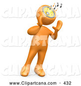 Clip Art of a Orange Person Holding Its Hands near Its Speaker Boom Box Head While Blasting Loud Music and Notes by 3poD