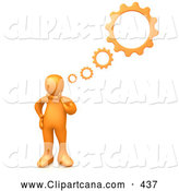 Clip Art of a Orange Person Inventing a Creation in His Head, Cog Wheel Thought Bubbles Above Him, on White by 3poD