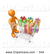 Clip Art of a Orange Person Pushing a Shopping Cart Packed Full of Colorful Wrapped Christmas Presents in a Store by 3poD