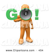 Clip Art of a Orange Person Screaming by 3poD