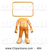 Clip Art of a Orange Person Standing with a Blank Sign or Message Board Head, on White by 3poD