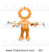 Clip Art of a Orange Person with a Cog Head, Holding Nails, Screwdriver, Hammer, Saw and Wrench While Repairing by 3poD