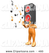 Clip Art of a Orange Person with a Speaker Boom Box Head, Playing Loud Music by 3poD