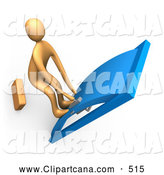 Clip Art of a Orange Person with His Feet up on the Door, Yanking a Handle and Trying to Break It Open by 3poD