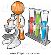 Clip Art of a Orange Scientist Using a Microscope by Vials by Leo Blanchette