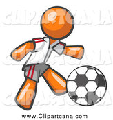 Clip Art of a Orange Soccer Player by Leo Blanchette