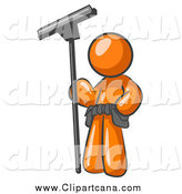Clip Art of a Orange Window Cleaner Standing with a Squeegee by Leo Blanchette