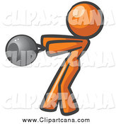 Clip Art of a Orange Woman Working out with a Kettle Bell by Leo Blanchette